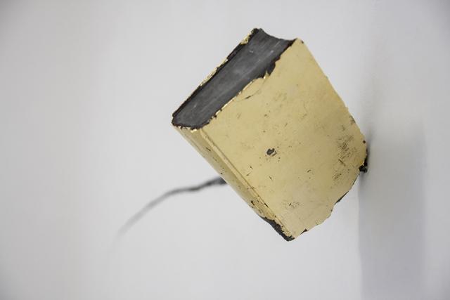 Marco Cordero, Ombre lunghe, 2018, gesso, carbone, foglia d'oro, indaco, dimensioni variabili