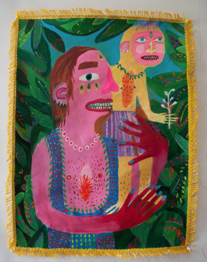 Andrea Fiorino, Mai Padre, 2015, acrilico e stoffa su tela, 2015, 66x 50 cm