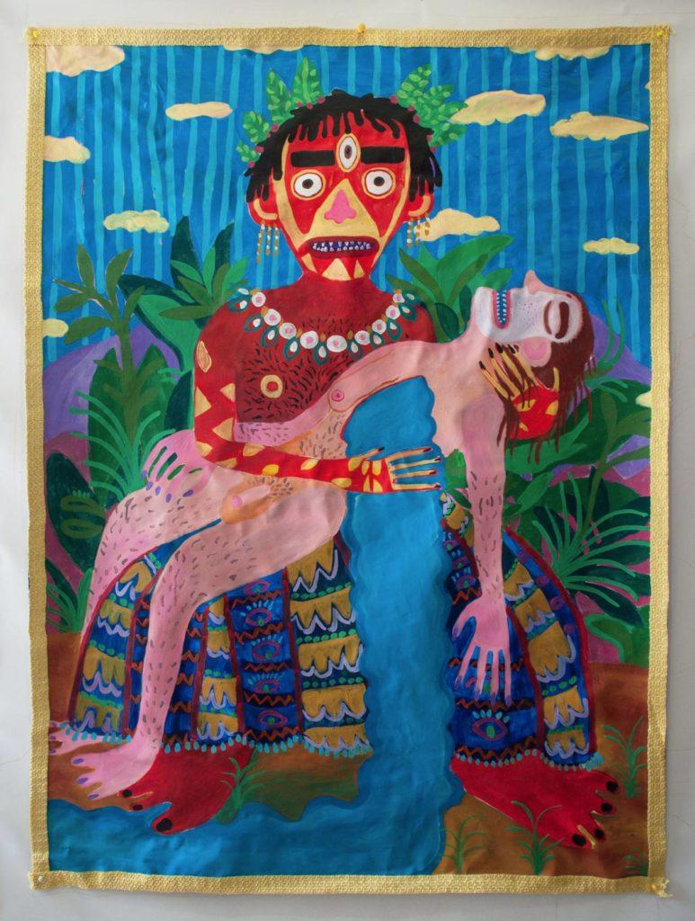 Andrea Fiorino, Nuova Era, 2015, acrilico e stoffa su tela, 115x160 cm