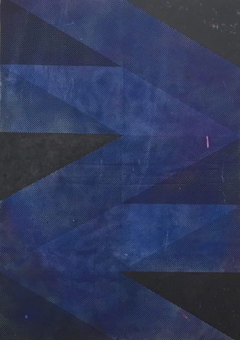 Michael Conrads, Ways No.7 (Blue), 2017, Silkscreen and DIY dyed fabric, acrylic, spraypaint on canvas, cm 67x47