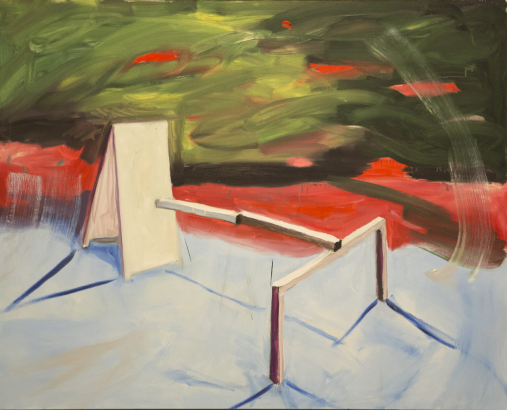 Federico Luger, Dialogo tra amici, 2016, olio su tela, cm 123x152