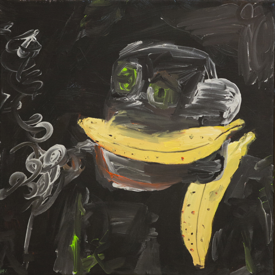 Federico Luger, Autoritratto parlando al telefono, 2016, olio su tela cm 43x43