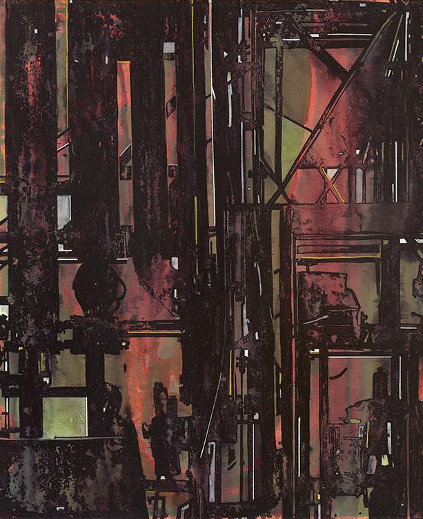 Jan Muche, senza titolo, 2017, acrilico, inchiostro e fissativo da nave su tela, 60x50 cm