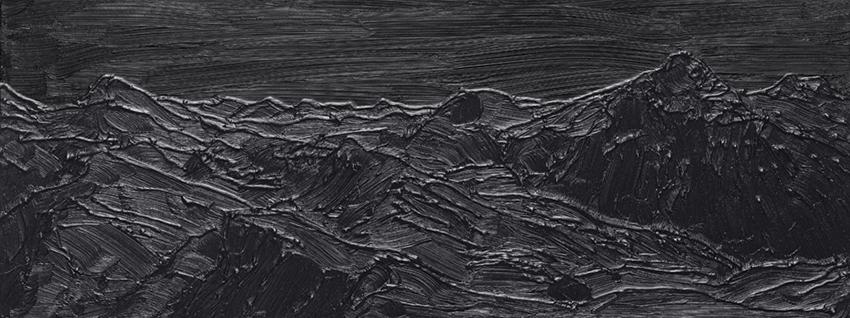 Sven Druehl, SB (Undead), 2017, olio e silicone su tela, 30 x 80 cm