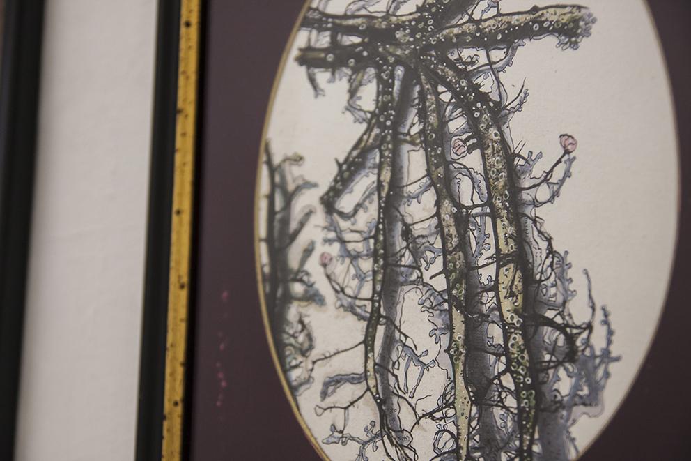 Andrea Guerzoni, Novae Lichenum Herbaria C. Sbarbaro 07 (dettaglio) 2017, tecnica mista su carta, 30x24 cm