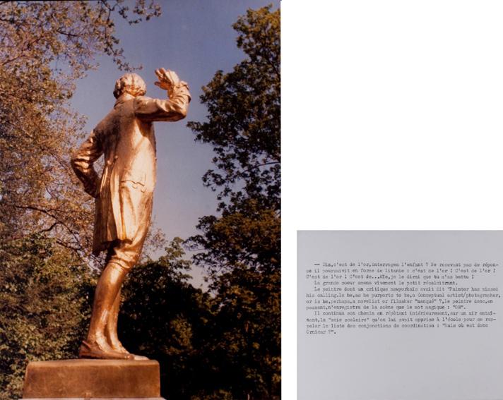 Jean Le Gac, La statue dorée et le peintre, 1976, fotografia a colori e testo, 100x71, 40x50