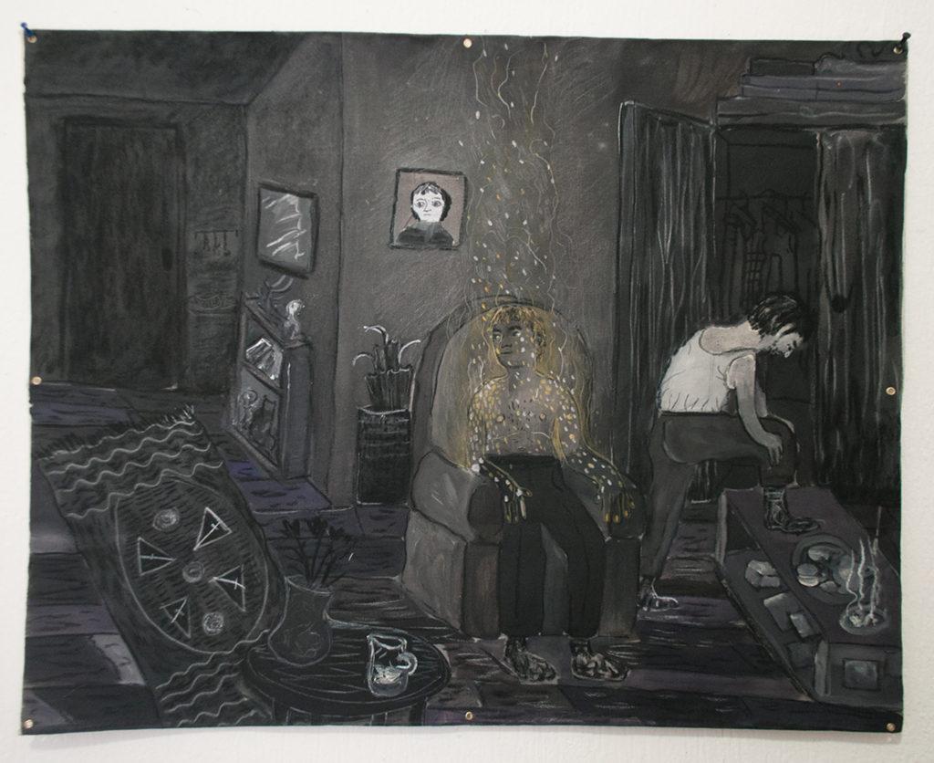 Andrea Fiorino, Quasi invisibile, 2017, acrilico fusaggine e pastelli su cotone grezzo, 87x69 cm