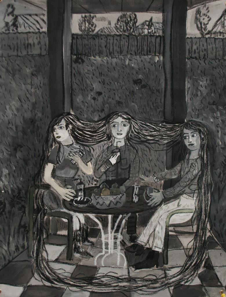 Andrea Fiorino, Tre sorelle sotto al gazebo, 2017, acrilico fusaggine pastelli su cotone grezzo, 43x55 cm