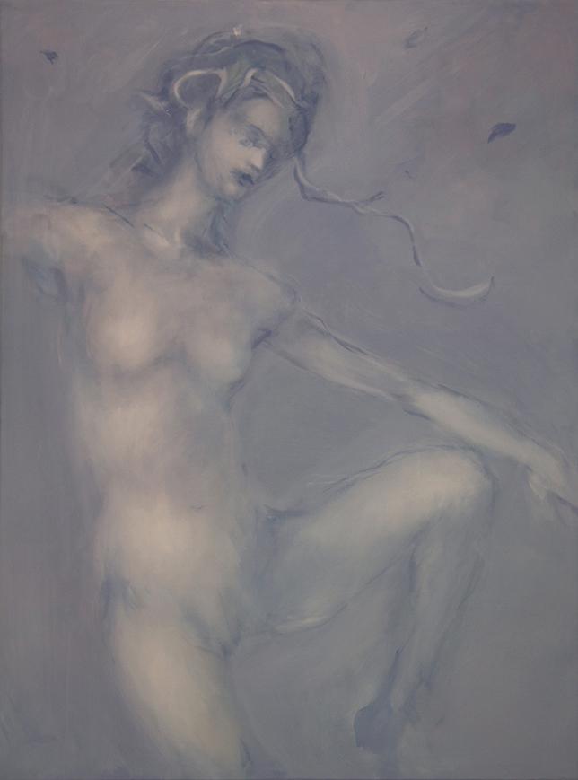 Alessandro Saturno, Numen, 2015, acrilico e olio su tela, 120x89 cm