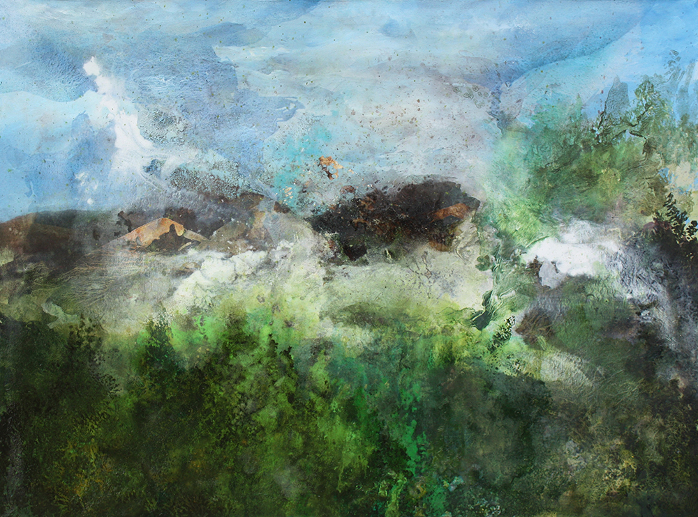 Gabriele Brucceri, Dal riverbero il rumore di fondo, 2016, olio su tela, 90x120 cm