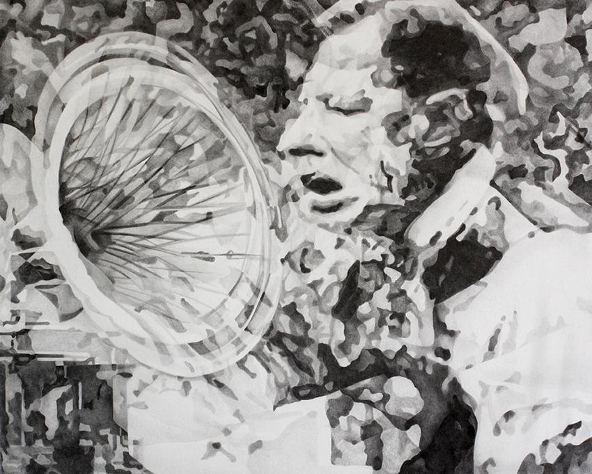 Gabriele Brucceri, Emissione, 2011, grafite su carta, 50x65 cm