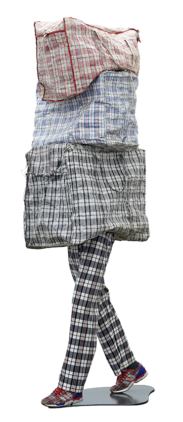 Dan Halter, Patterns of Migration, 2015, found plastic-weave bags, custom-made tartan fabric, mannequin legs and Adidas ZX Flux CLOT shoes, 236×71×71 cm