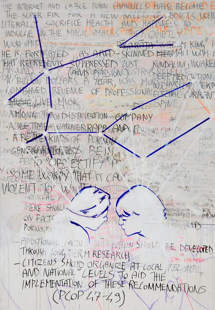 Manuel Portioli, Untitled (porn), 2014, tecnica mista su tela, 200x140 cm