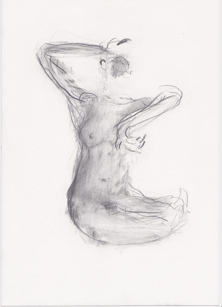 Alessandro Saturno, Studio sul corpo possibile, 2015, grafite su carta, 29,7x21 cm
