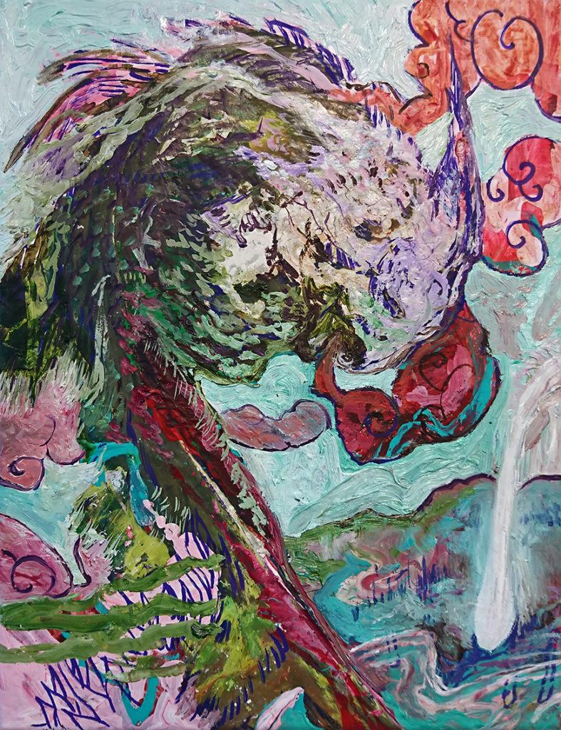 Manuel Portioli, The dragon, 2017, tecnica mista su tela, 34,5x26,5 cm