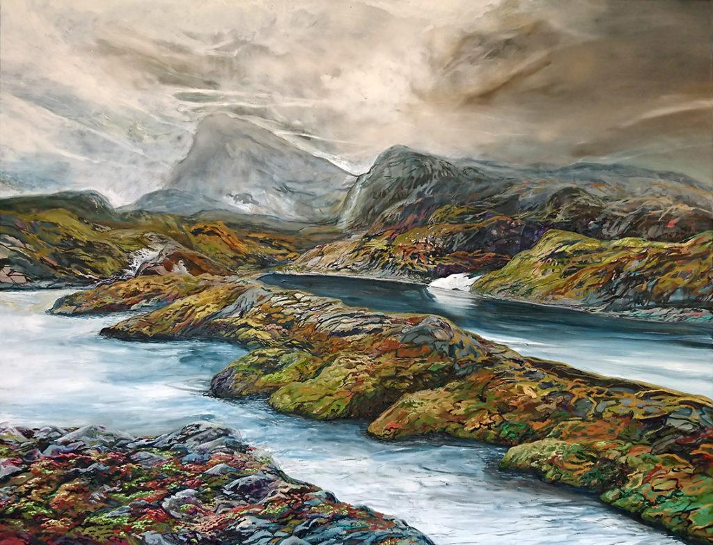 Manuel Portioli, The fall 2, 2018, tecnica mista su tela, 130x170 cm