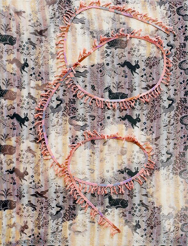 Cato Løland, Spiral, 2016, collage di materiali tessili e cloro, cm 120x150