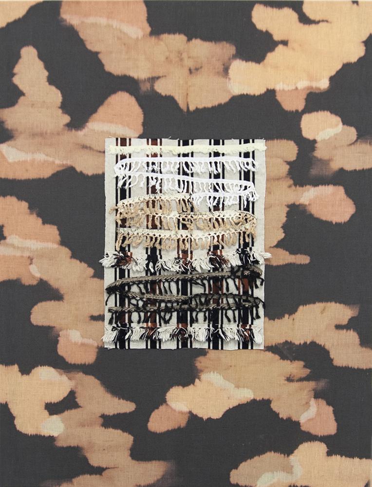 Cato Løland, Habitat, 2016, collage di materiali tessili, cm 150x170